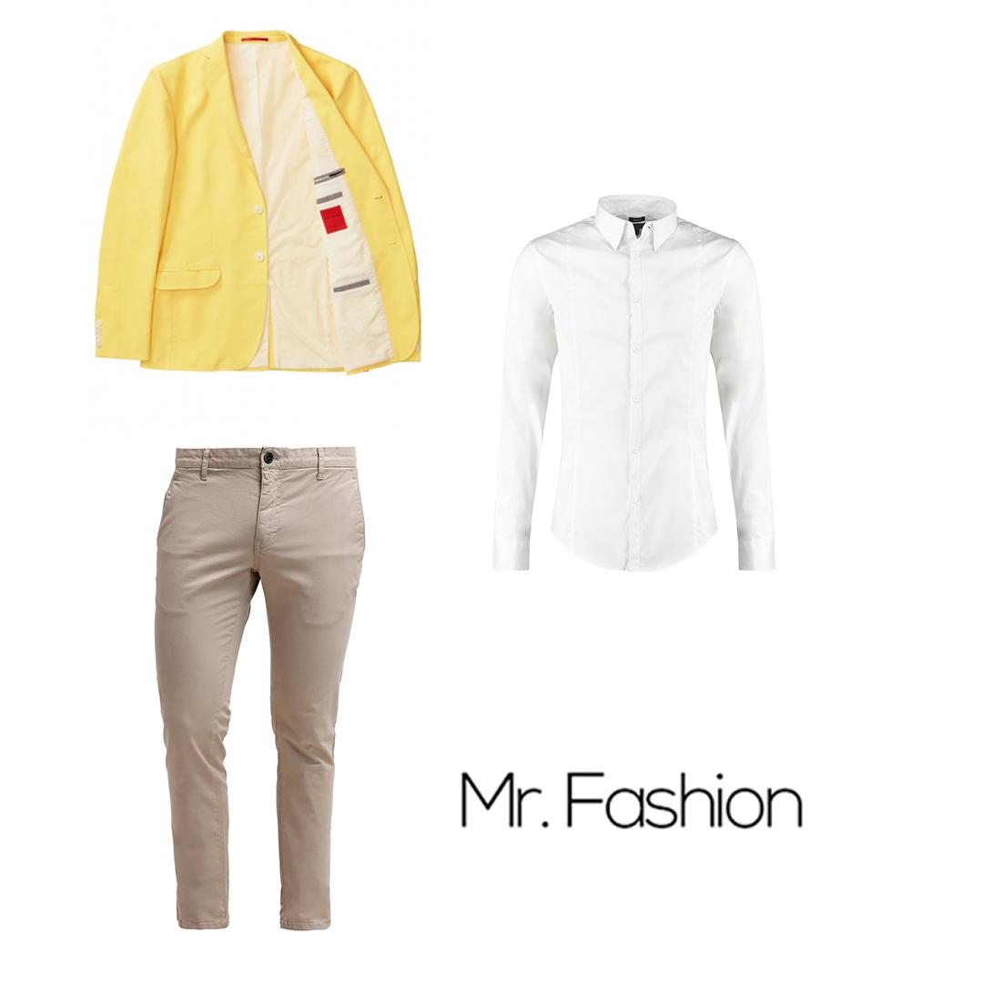Żółta marynarka i szare spodnie