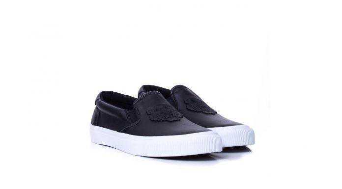 Czarne skórzane buty Kenzo