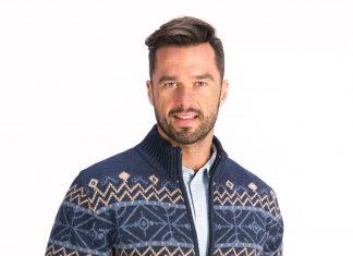 Wzorzysty sweter męski
