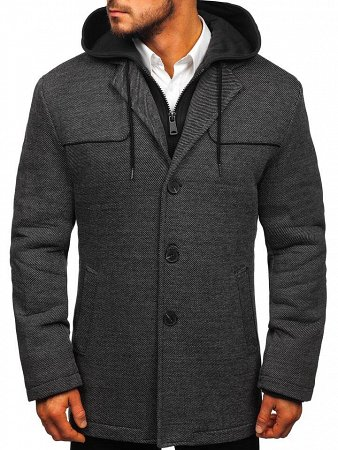 Szary płaszcz casualowy